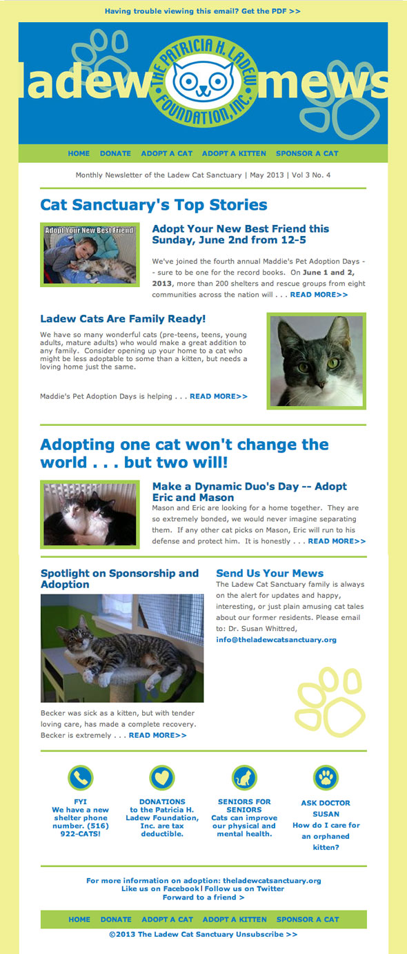 HTML E-Mail Design for The Ladew Cat Sanctuary