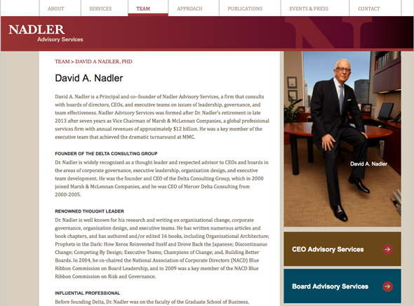 Website for Nadler Leadership Advisory